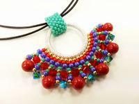 Fan Pendant Beadwork Necklace Jewellery Making Kit with SWAROVSKI® ELEMENTS Aztec tones